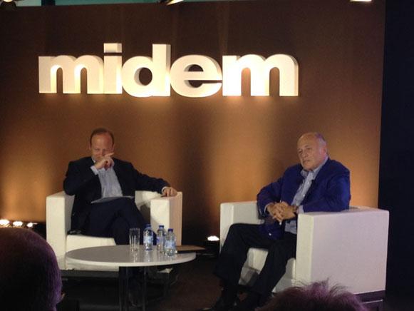 Doug Morris (derecha) durante la entrevista en el Midem