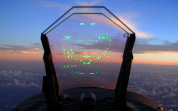 Heads-Up Display, o HUD en la cabina de mandos de un avión