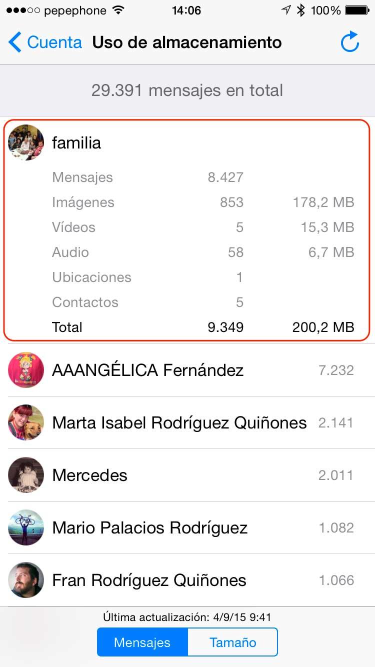 Saber cuanto ocupa chat de whatsapp