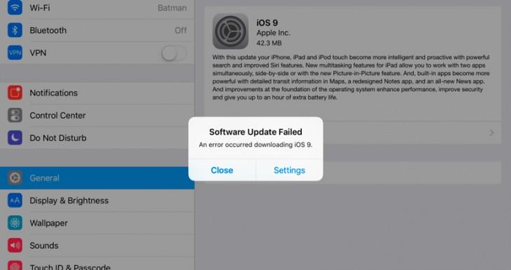 Error al actualizar el Software, iOS 9 se resiste para algunos usuarios
