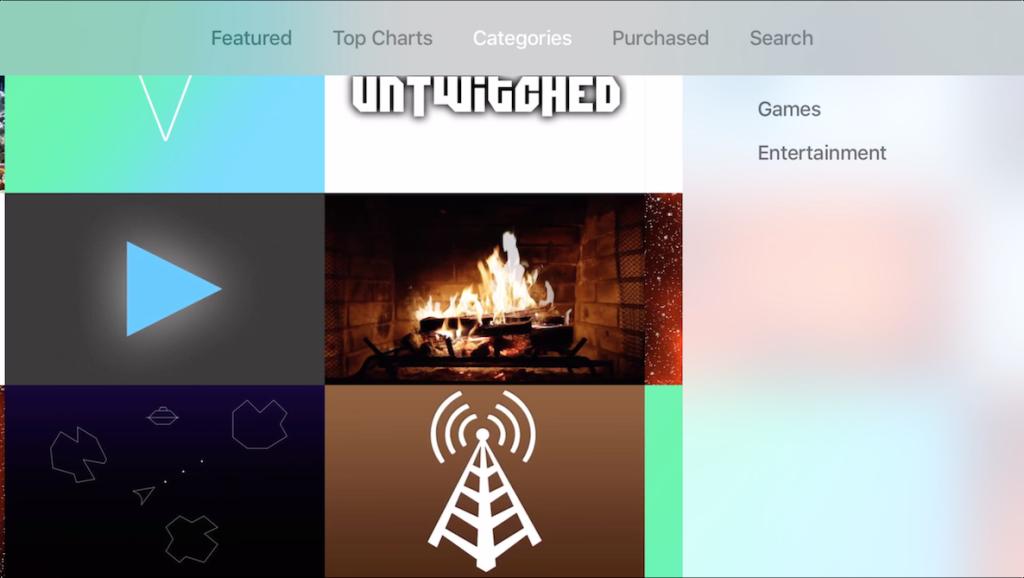 Categorías App Store Apple TV