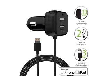 Cargador de coche para iPhone MFI para 3 dispositivos