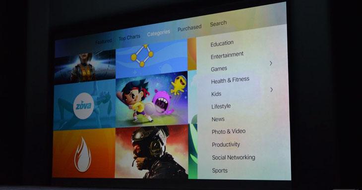 Se añaden nuevas categorías a la App Store del Apple TV 4