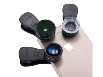 Kit de lentes para fotografía con iPhone (Ojo de pez, Macro y gran angular)