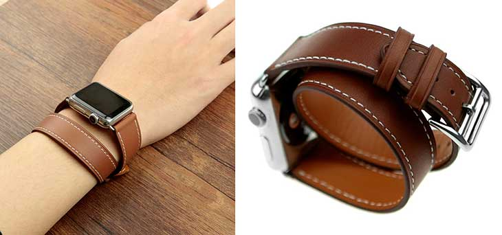 Correa de cuero estilo Double Tour para Apple Watch - Wollpo