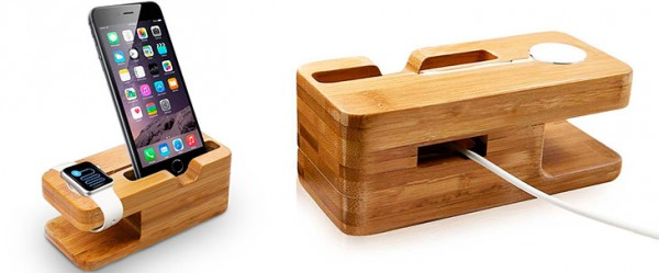 Stand de carga de madera para Apple Watch y iPhone - Aerb Bamboo