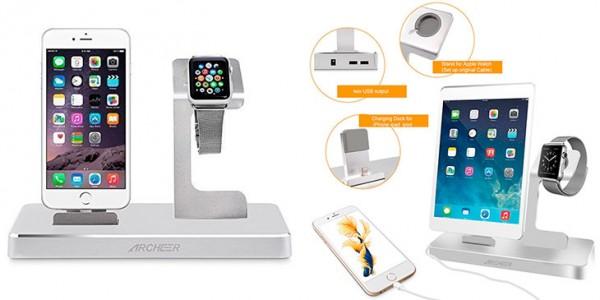 Dock para Apple Watch y iPhone con 2 puertos USB - Archeer 3 en 1
