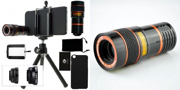 Kit de lentes 4 en 1 (ojo de pez, gran angular, macro y telefoto) con mini trípode para iPhone 6, 6s, 6 Plus y 6s Plus - Camkix