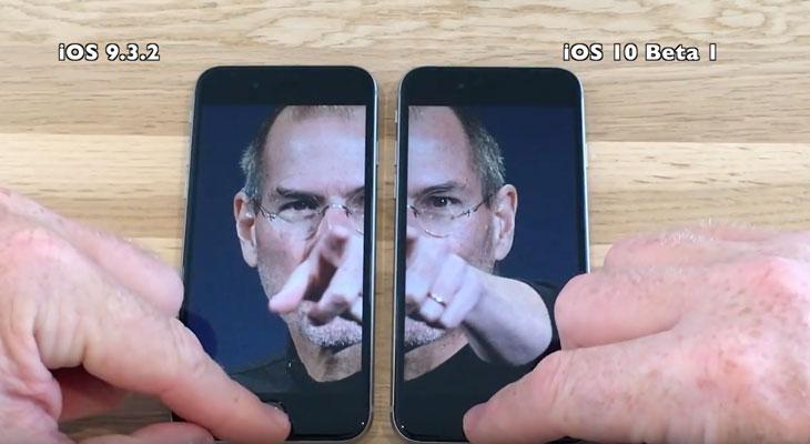 iOS 9.3. 2 Vs iOS 10 Beta 1, comparación de rendimiento en todos los dispositivos [Vídeo]
