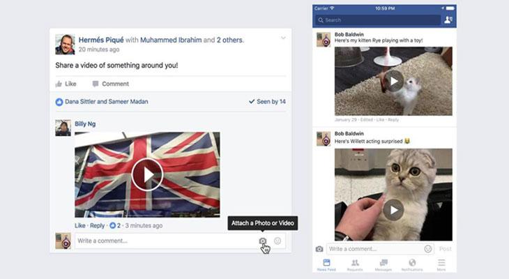 Facebook ya permite comentar con vídeos