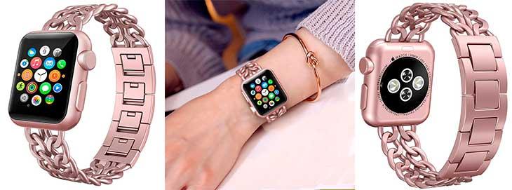 Correa de acero inoxidable y diseño femenino para Apple Watch - Hooroor