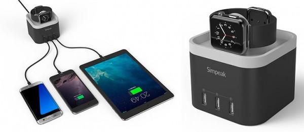 Dock de carga para Apple Watch con 3 puertos USB - Simpeak Charger Dock