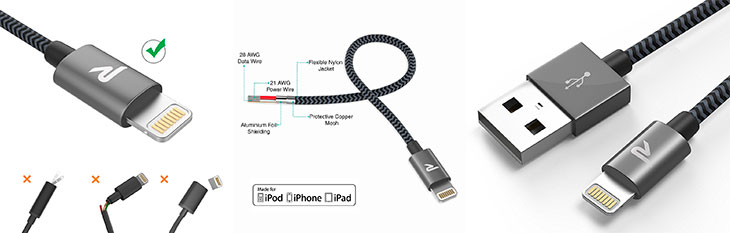 Cable Lightning MFi de nylon para iPhone y iPad - Rampow