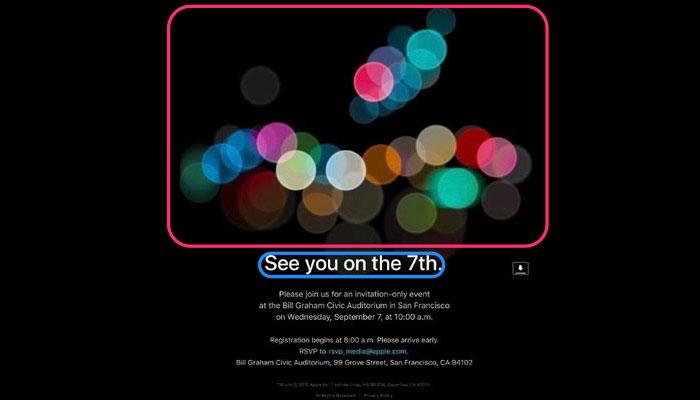 Esto es lo que nos revela la invitación a la Keynote del iPhone 7