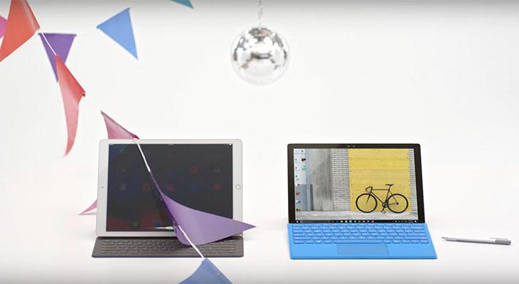 Microsoft se burla del iPad Pro para promocionar su Surface Pro 4