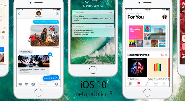 Apple lanza la tercera beta pública de iOS 10