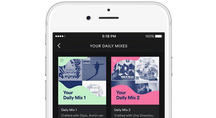 """Spotify lanza """"Daily Mix"""" una lista de reproducción que se actualiza cada día"""