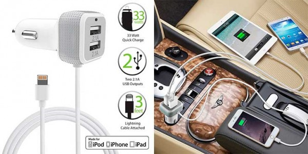 Cargador de coche para iPhone y iPad con cable Lightning incorporado y 2 puertos USB - FosPower