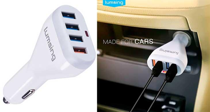 Cargador de iPhone y móviles para coche con 4 puertos USB - Lumsing