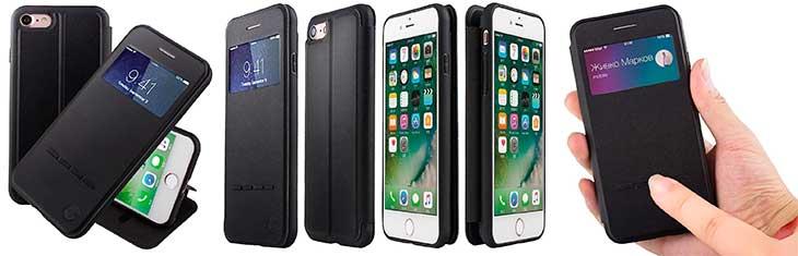 Funda con ventana y banda de botones para iPhone 7 y 7 Plus - Nouske
