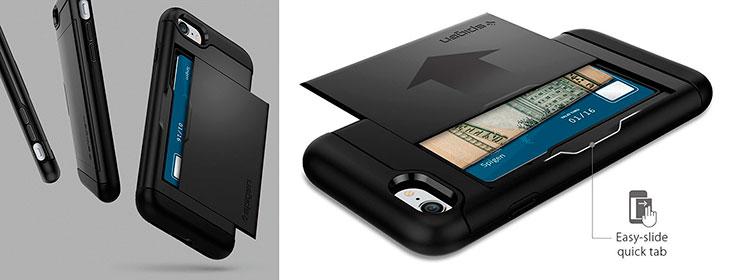 Funda para iPhone 7 y 7 Plus con espacio para tarjetas - Spigen Slim Armor CS