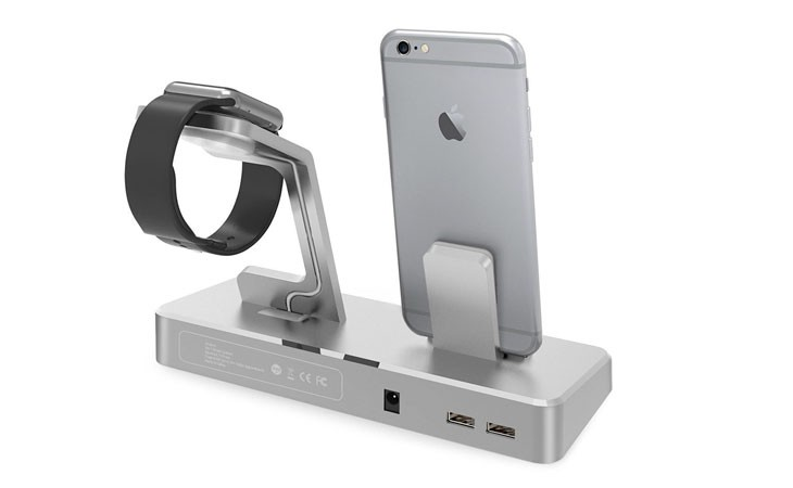 Base de carga para iPhone y Apple Watch de aluminio