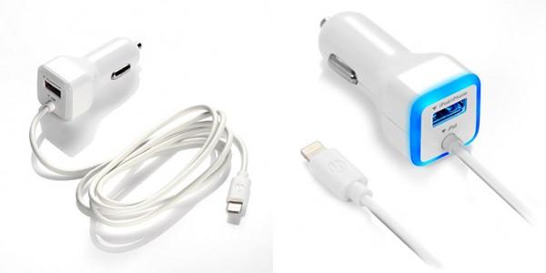 Cargador de iPhone y iPad para el coche con cable Lightning + 1 puerto USB - eBuddies