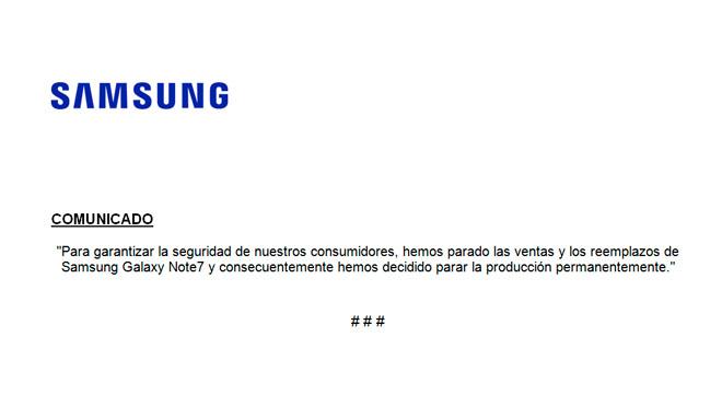 Comunicado de Samsung