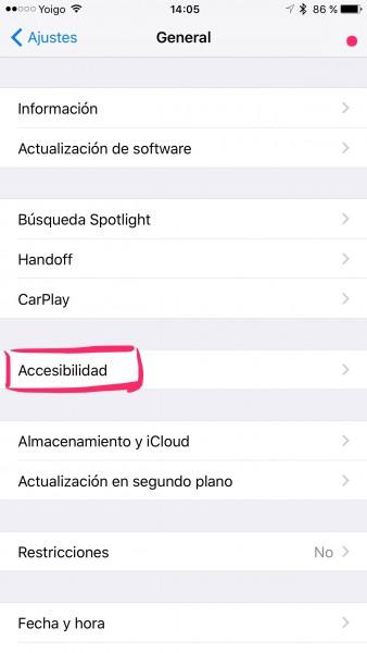 Ajustes/General, iPhone