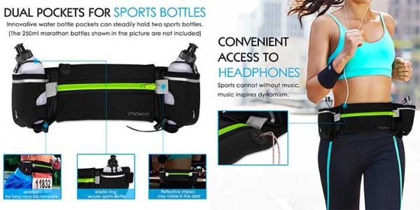 Riñonera-Cinturón de Running para iPhone con espacio para botellas - MoKo