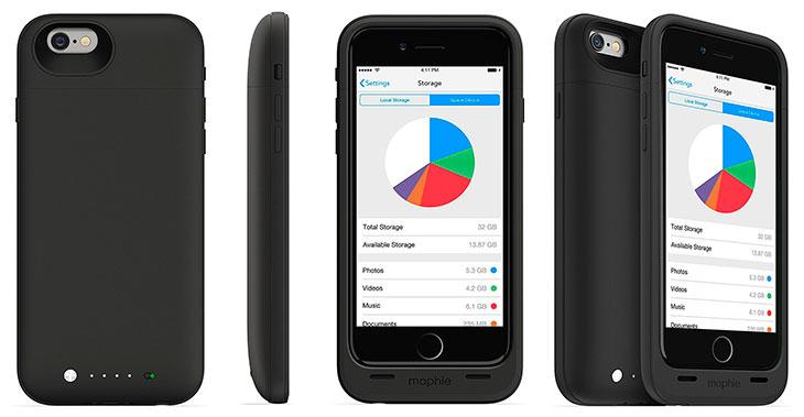 Funda con batería y almacenamiento extra para iPhone - Mophie Space Pack