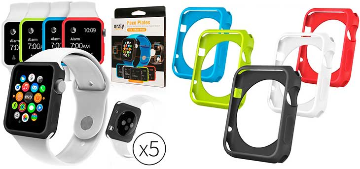 Pack de 5 fundas de colores tipo bumper para Apple Watch - Orzly