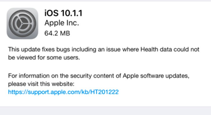 Apple lanza iOS 10.1.1 para solucionar problemas con la App de salud