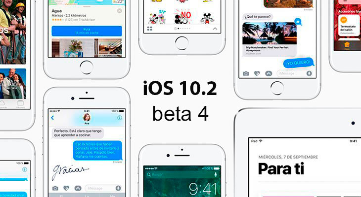 Ya está disponible la beta 4 de iOS 10.2