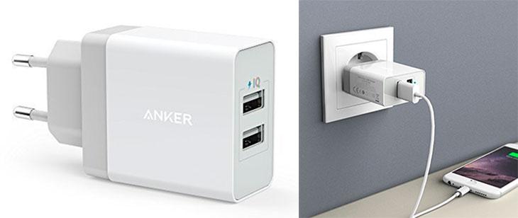Cargador de pared con 2 puertos USB para iPhone y iPad - Anker