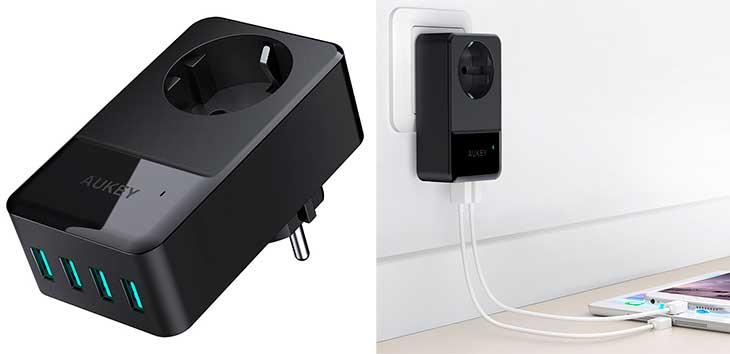 Cargador de pared con 4 puertos USB y toma AC - Aukey