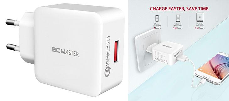 Cargador de pared con un puerto USB para iPhone, iPad y otros móviles y tablets - BC Master