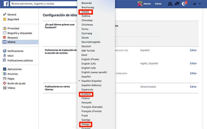 Cómo usar Facebook en català, euskara o galego