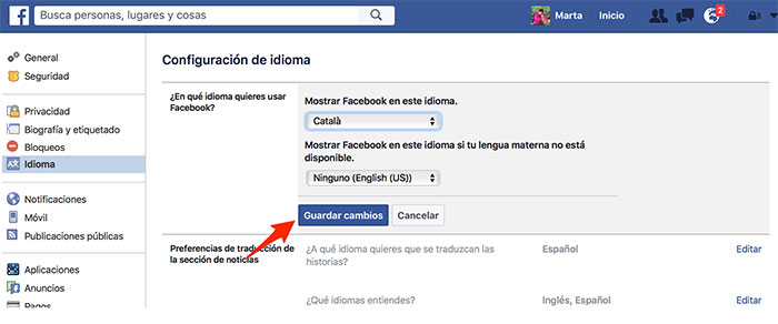 Configurar Facebook en catalán