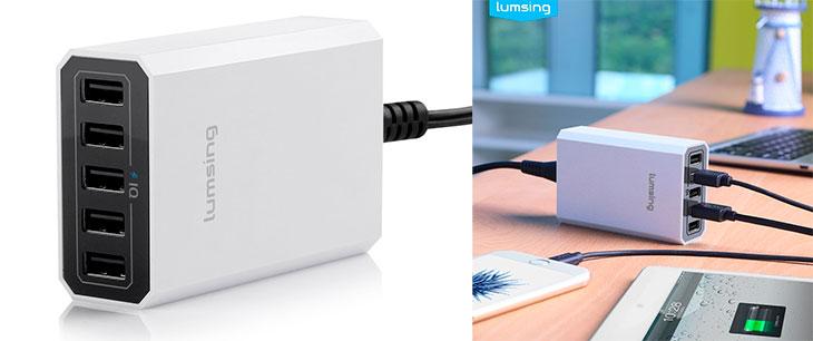 Cargador de mesa para iPhone y iPad con 5 puertos USB - Lumsing
