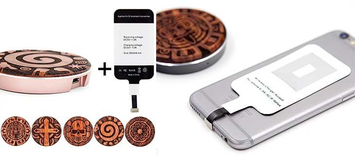 Receptor y cargador inalámbrico Qi para iPhone 7, 6s, 6, 7 Plus, 6s Plus, 6 Plus, SE, 5s y 5 - Urcover