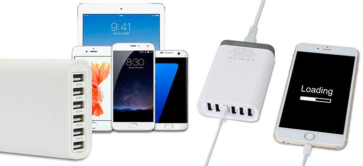 Cargador de mesa para iPhone, iPad, móviles y tablets con 6 puertos USB - Selectec