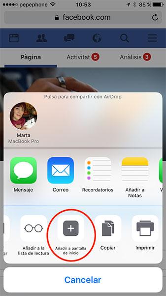 Cómo usar Facebook en catalán en el iPhone