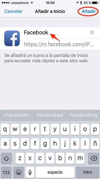 Añadir Facebook en catalán a pantalla de inicio de iPhone