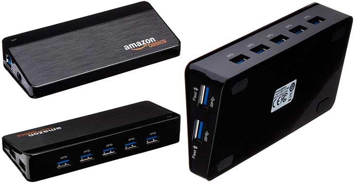 Hub USB 3.0 alimentado de 7 puertos para Mac y PC - AmazonBasics