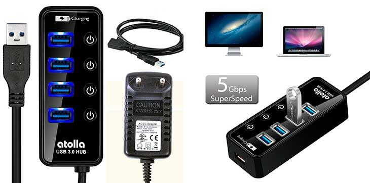 Hub USB 3.0 alimentado de 4+1 puertos | Atolla 204U3