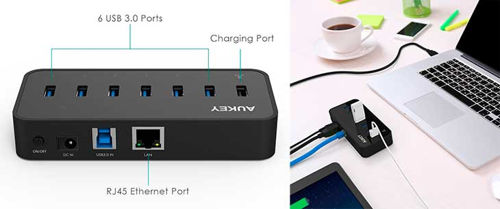 Hub USB 3.0 de 7 puertos + Gigabit Ethernet - Aukey CB-H17