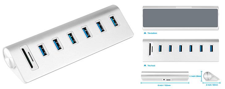 Hub USB 3.0 alimentado de 6 puertos + lector de tarjetas de memoria - Cateck
