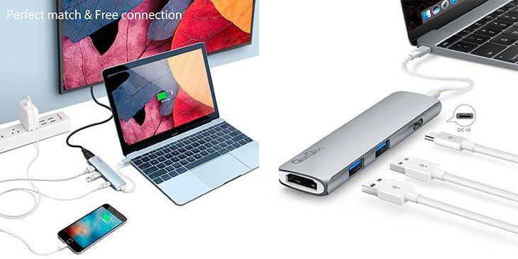 Hub USB-C con 2 USB 3.0, HDMI y alimentación, para nuevos MacBook y MacBook Pro - Egolggo GN22B
