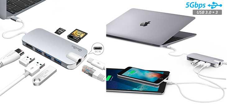 Hub USB-C con 3 puertos USB 3.0, HDMI, lector de tarjetas, Ethernet y alimentación | Para nuevos MacBook y MacBook Pro - Egolggo GN30H